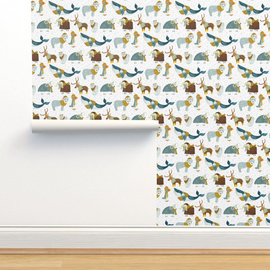 Isobar Durable Wallpaper featuring Pattern #72 - Arctic Animals with woolly scarves by irenesilvino