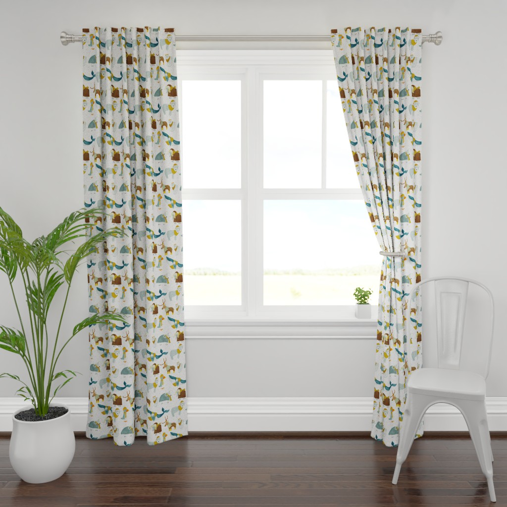 Plymouth Curtain Panel featuring Pattern #72 - Arctic Animals with woolly scarves by irenesilvino
