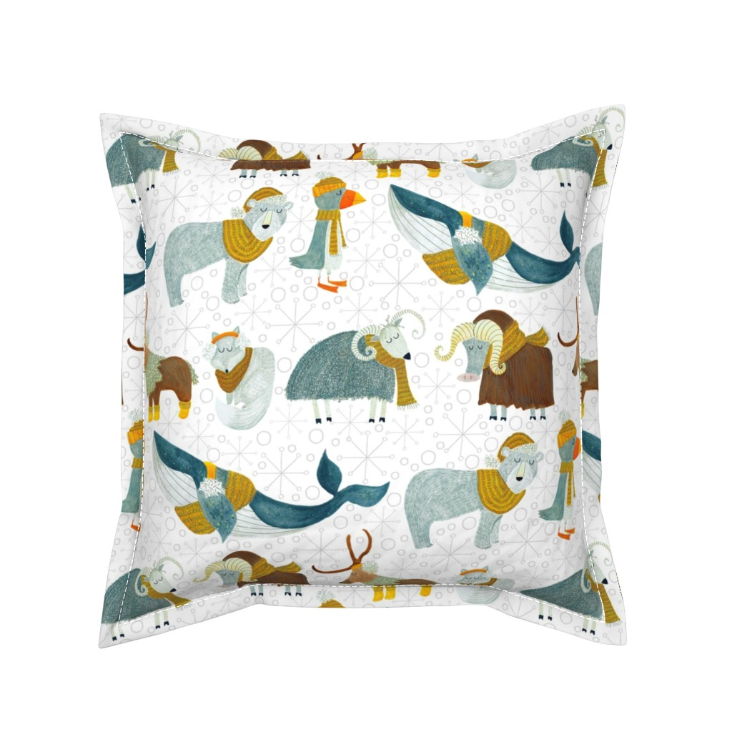 Serama Throw Pillow featuring Pattern #72 - Arctic Animals with woolly scarves by irenesilvino