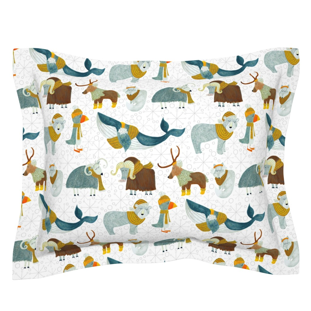 Sebright Pillow Sham featuring Pattern #72 - Arctic Animals with woolly scarves by irenesilvino