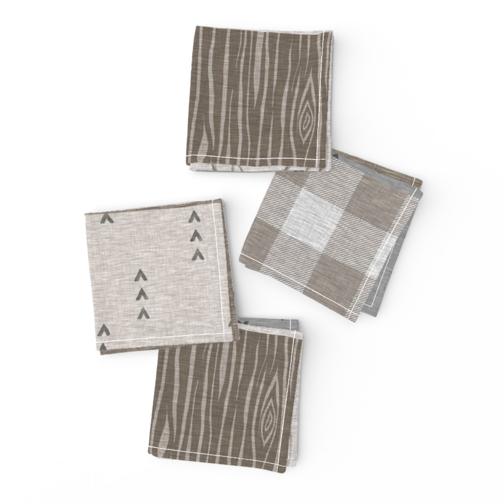 Frizzle Cocktail Napkins featuring Rustic Buck Wholecloth Quilt - Soft Brown And Grey by sugarpinedesign