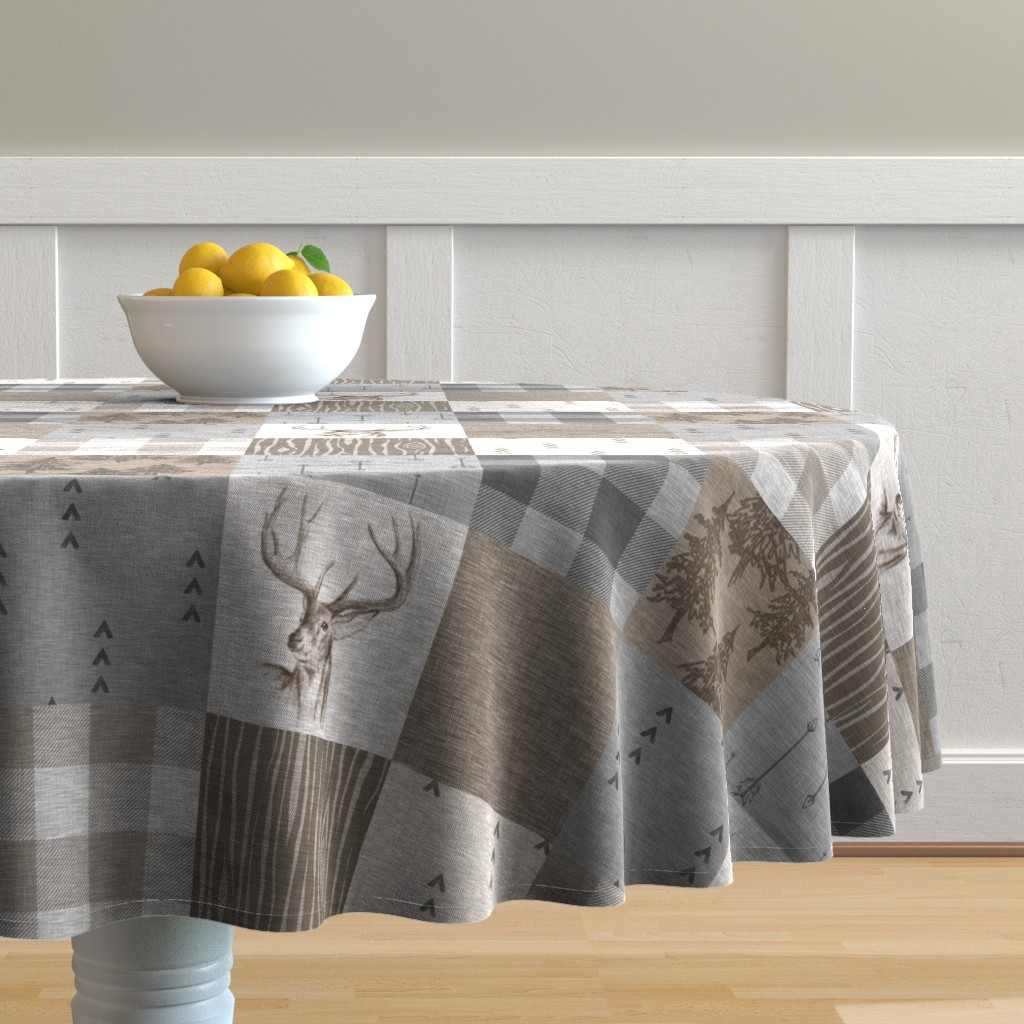 Malay Round Tablecloth featuring Rustic Buck Wholecloth Quilt - Soft Brown And Grey by sugarpinedesign