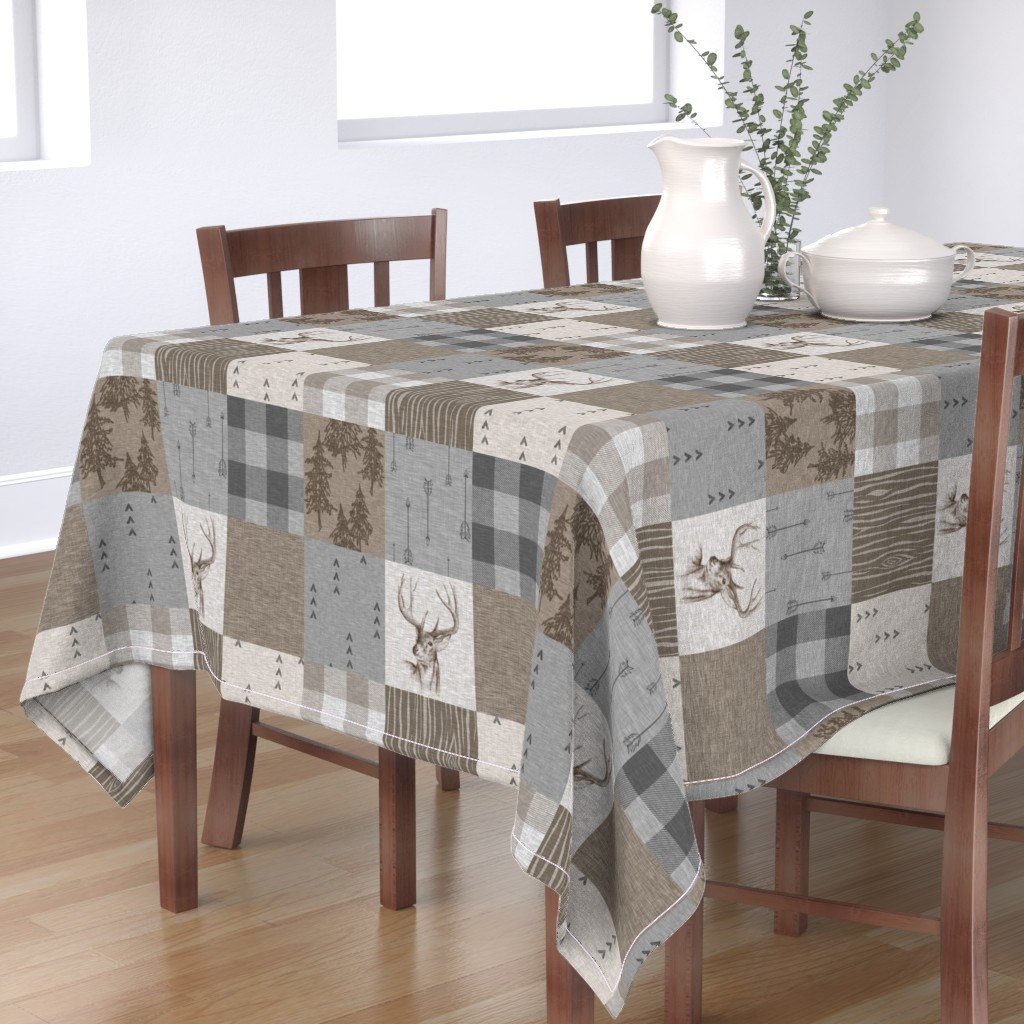 Bantam Rectangular Tablecloth featuring Rustic Buck Wholecloth Quilt - Soft Brown And Grey by sugarpinedesign