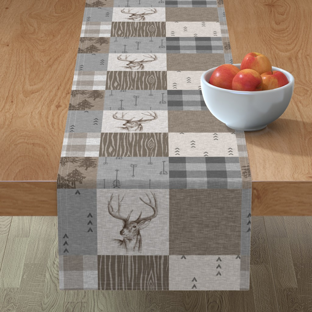 Minorca Table Runner featuring Rustic Buck Wholecloth Quilt - Soft Brown And Grey by sugarpinedesign