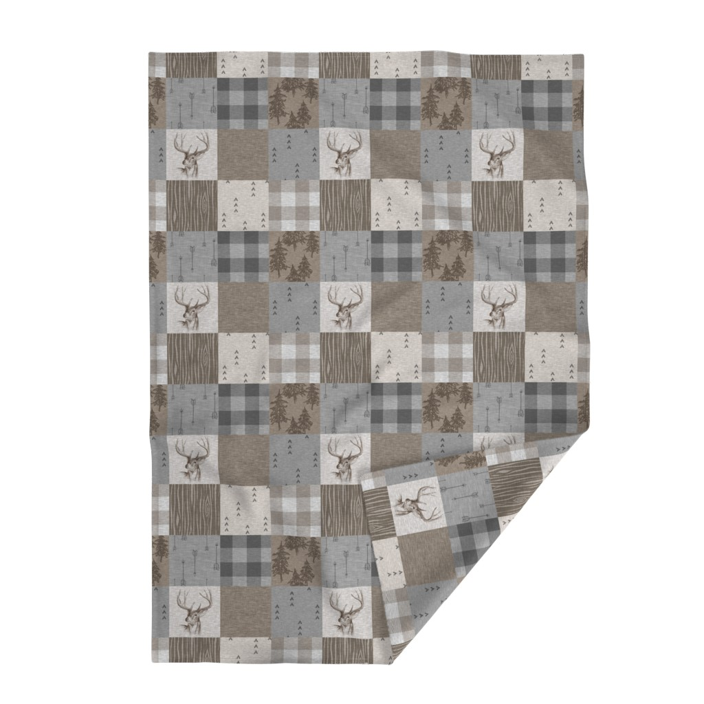 Lakenvelder Throw Blanket featuring Rustic Buck Wholecloth Quilt - Soft Brown And Grey by sugarpinedesign