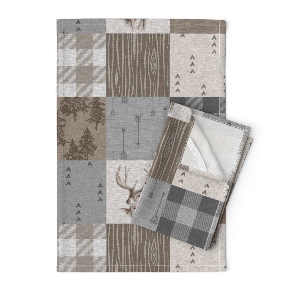 Orpington Tea Towels featuring Rustic Buck Wholecloth Quilt - Soft Brown And Grey by sugarpinedesign