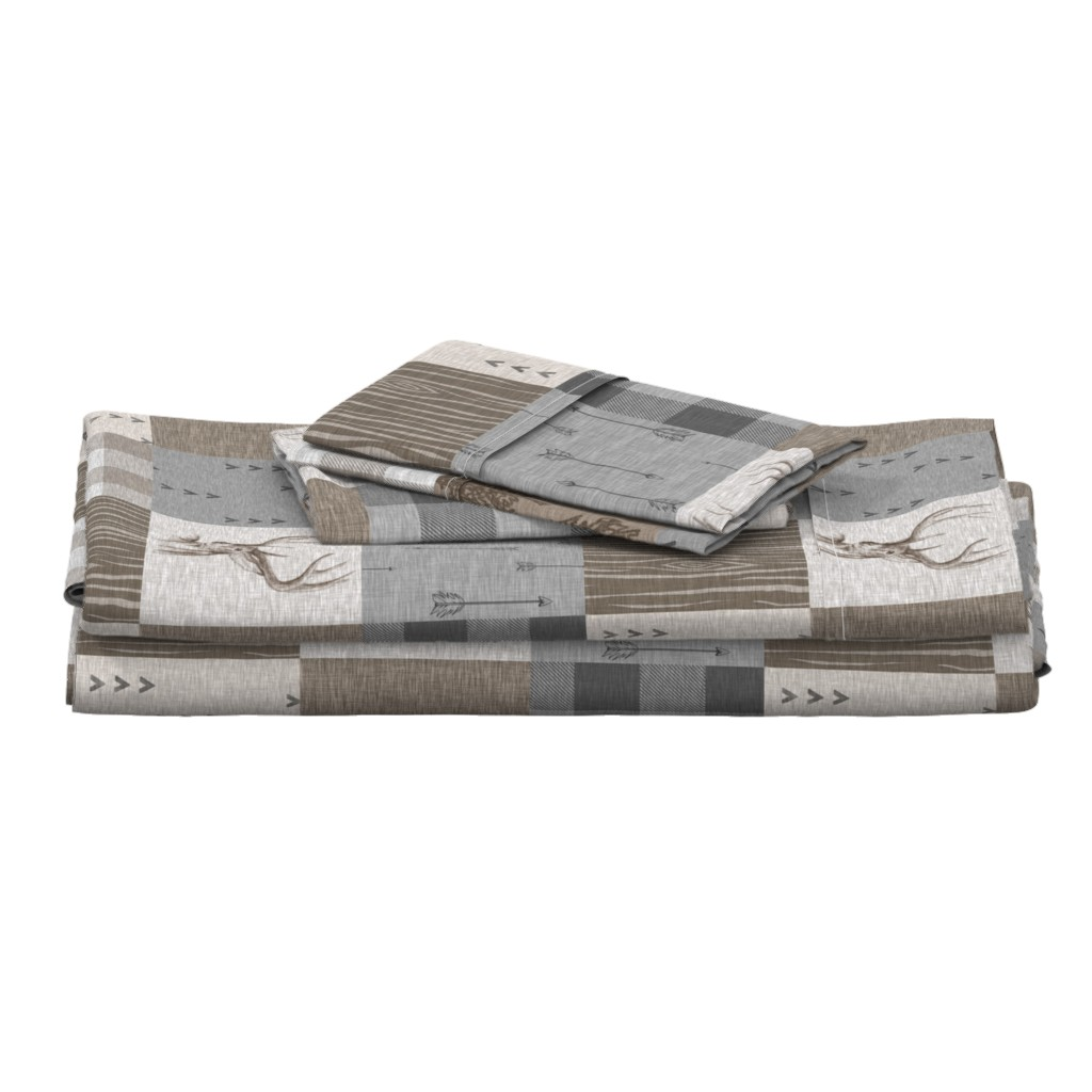 Langshan Full Bed Set featuring Rustic Buck Wholecloth Quilt - Soft Brown And Grey by sugarpinedesign
