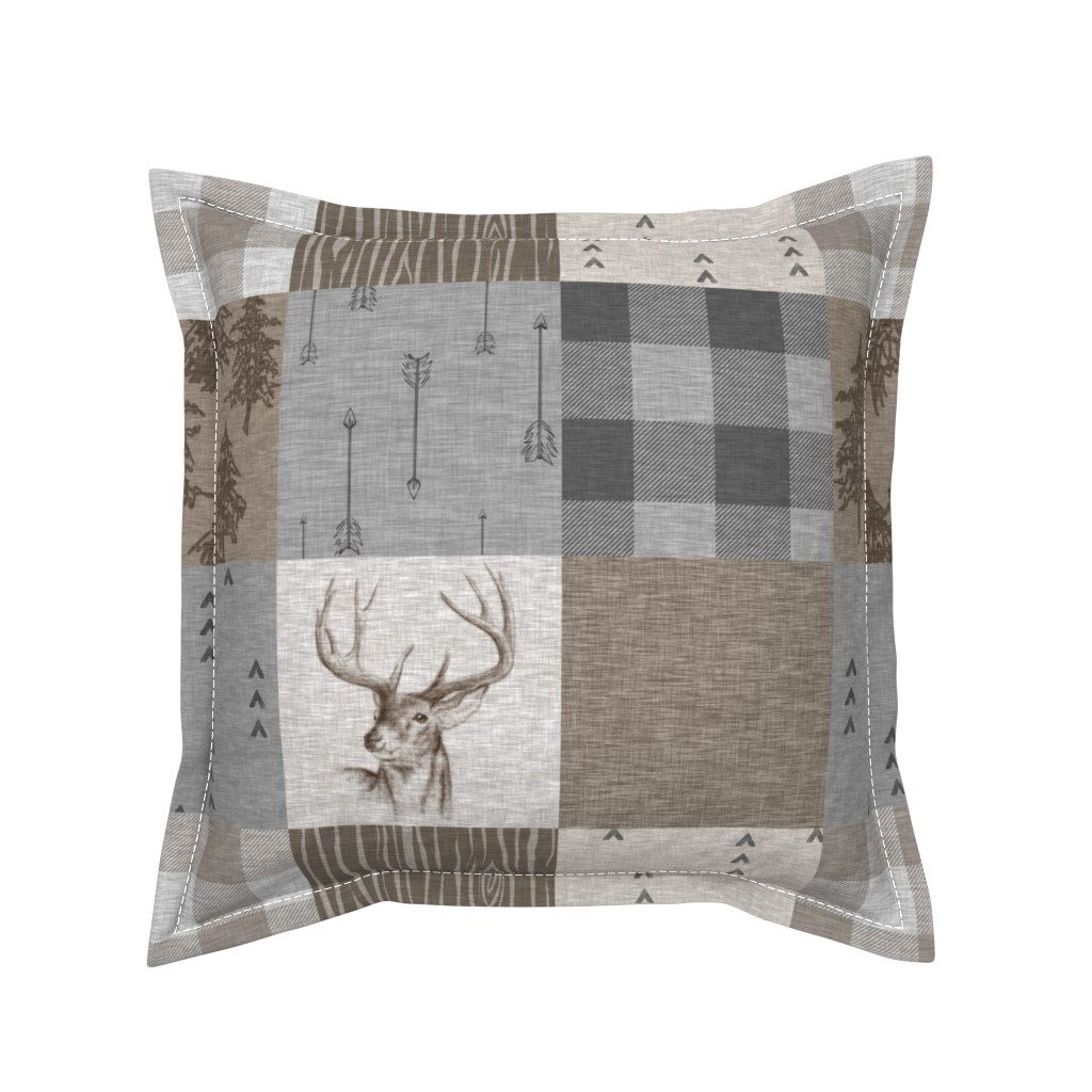 Serama Throw Pillow featuring Rustic Buck Wholecloth Quilt - Soft Brown And Grey by sugarpinedesign