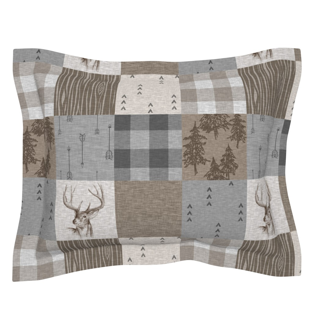 Sebright Pillow Sham featuring Rustic Buck Wholecloth Quilt - Soft Brown And Grey by sugarpinedesign