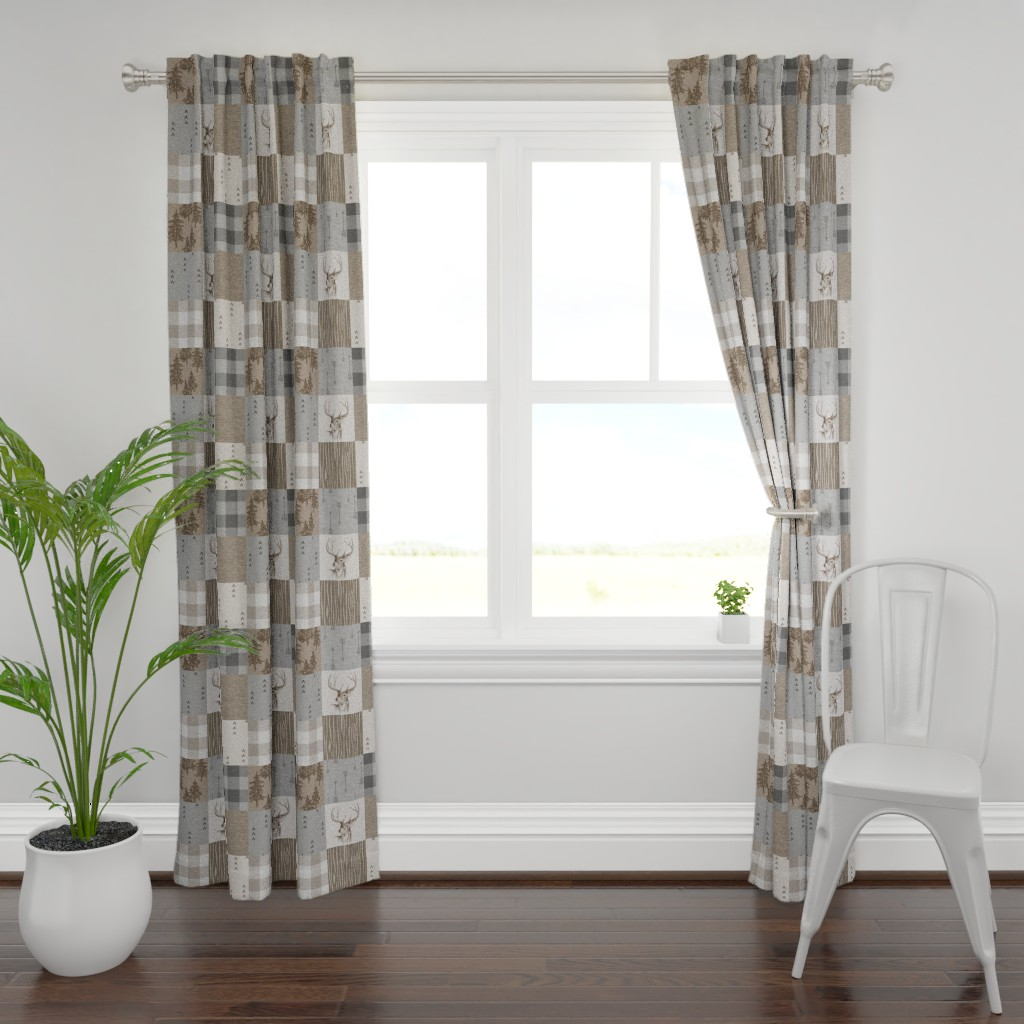 Plymouth Curtain Panel featuring Rustic Buck Wholecloth Quilt - Soft Brown And Grey by sugarpinedesign