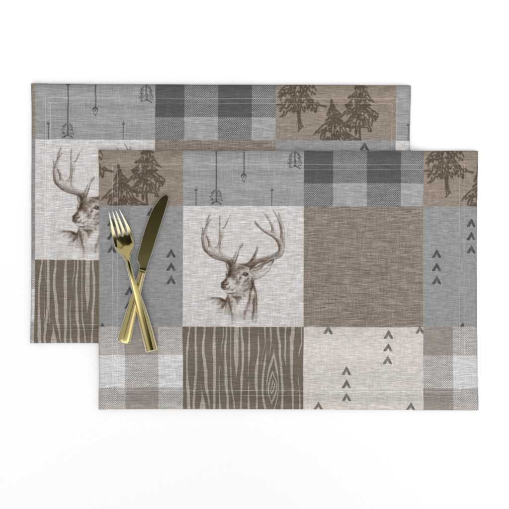 Lamona Cloth Placemats featuring Rustic Buck Wholecloth Quilt - Soft Brown And Grey by sugarpinedesign