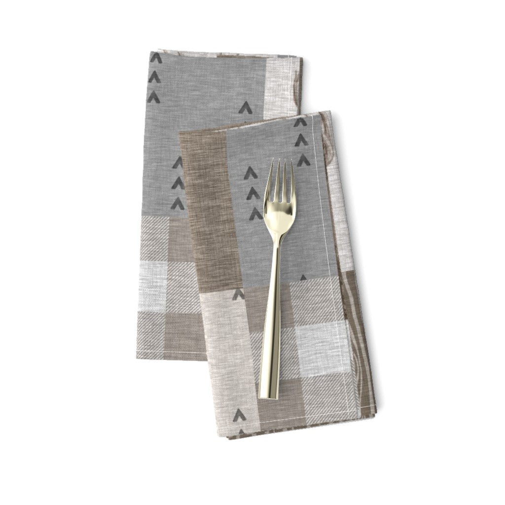 Amarela Dinner Napkins featuring Rustic Buck Wholecloth Quilt - Soft Brown And Grey by sugarpinedesign