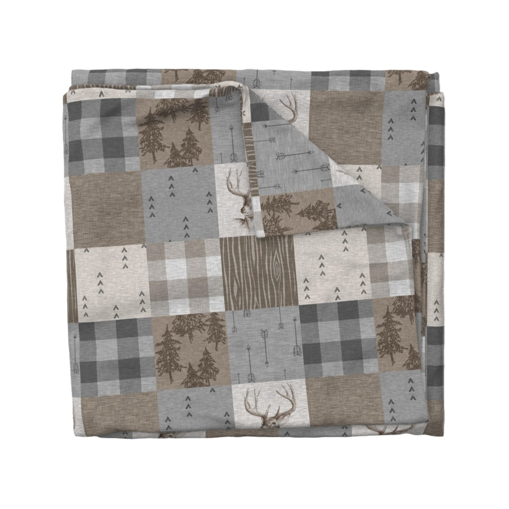 Wyandotte Duvet Cover featuring Rustic Buck Wholecloth Quilt - Soft Brown And Grey by sugarpinedesign