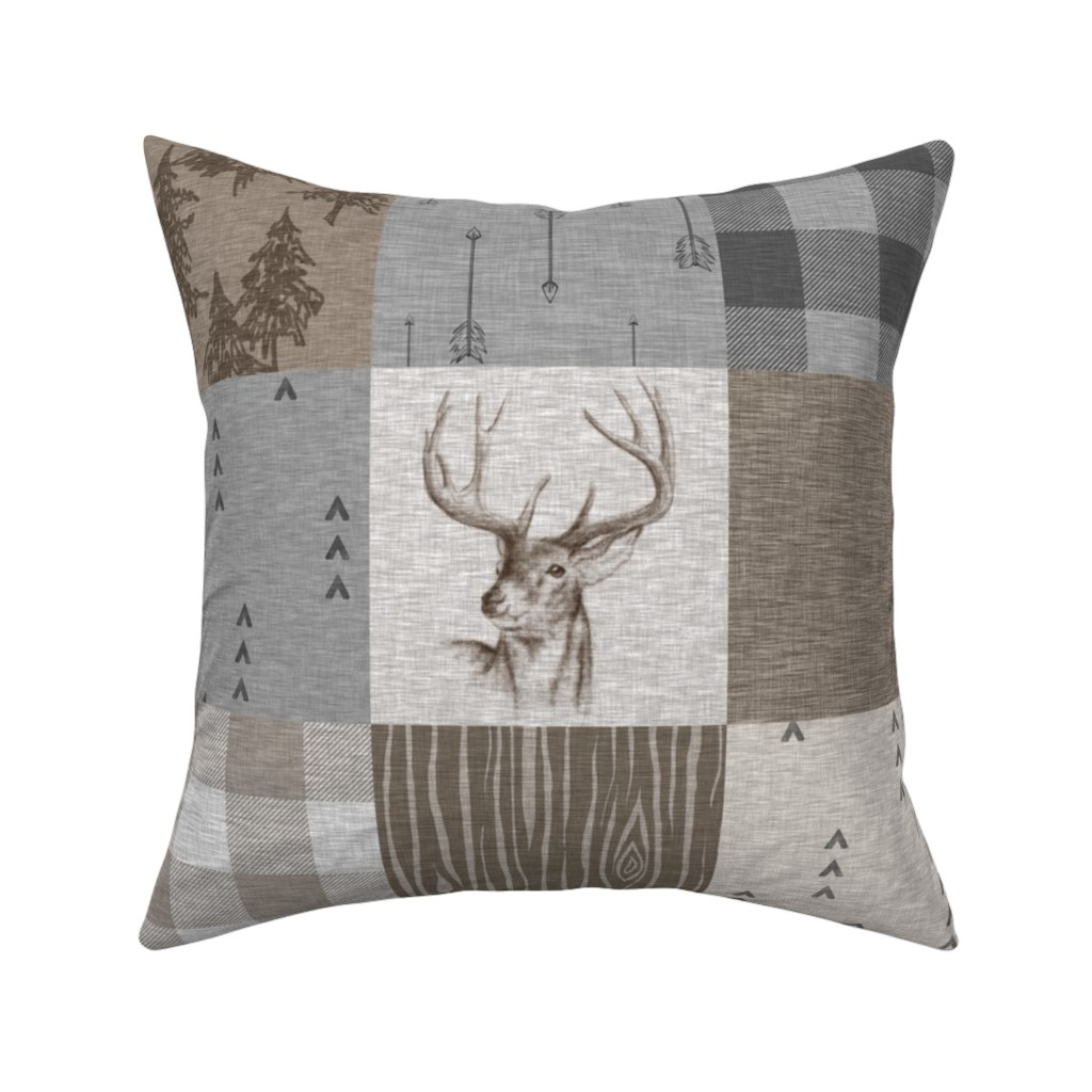 Catalan Throw Pillow featuring Rustic Buck Wholecloth Quilt - Soft Brown And Grey by sugarpinedesign