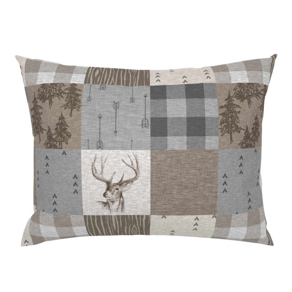 Campine Pillow Sham featuring Rustic Buck Wholecloth Quilt - Soft Brown And Grey by sugarpinedesign