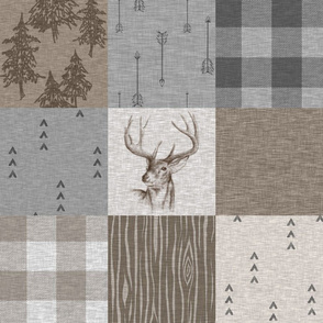 Rustic Buck Wholecloth Quilt - Soft Brown And Grey