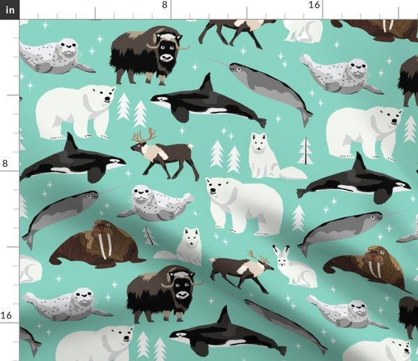 Fabric by the Yard arctic animals narwhal polar bear seal whale nature kids  nursery fabric teal