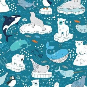 Arctic Animal Icebergs - teal and orange - large scale
