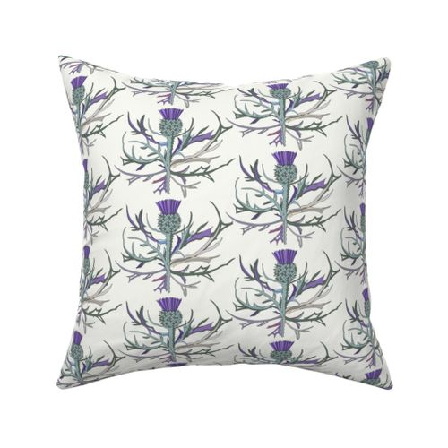 Tartan Thistle Green Purple Throw Pillow Cover w Optional Insert by Roostery