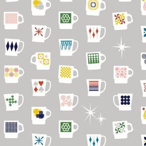 King of Cups* (Silkscreen) || vintage coffee mugs retro kitchen geometric fire king milk glass midcentury modern atomic