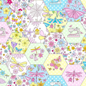 Floral Nature Hexie Sewing Bee