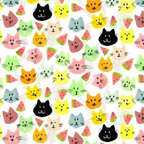 Kitty Melon Party | Rainbow Watercolour Cats & Watermelon Slices