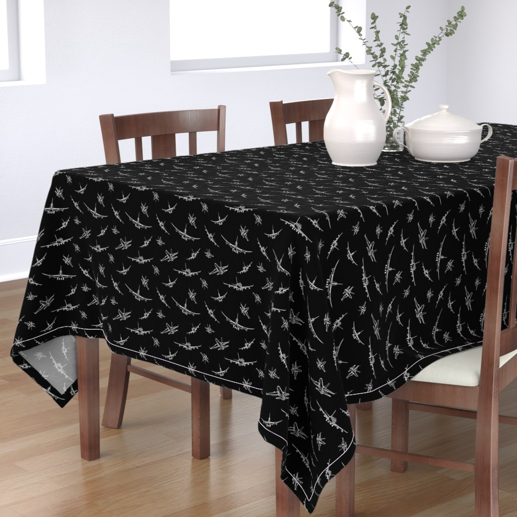 Bantam Rectangular Tablecloth featuring Plane Sketches on Black // Small by thinlinetextiles
