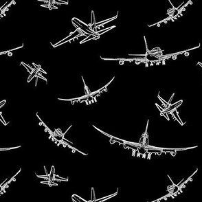 Plane Sketches on Black // Small