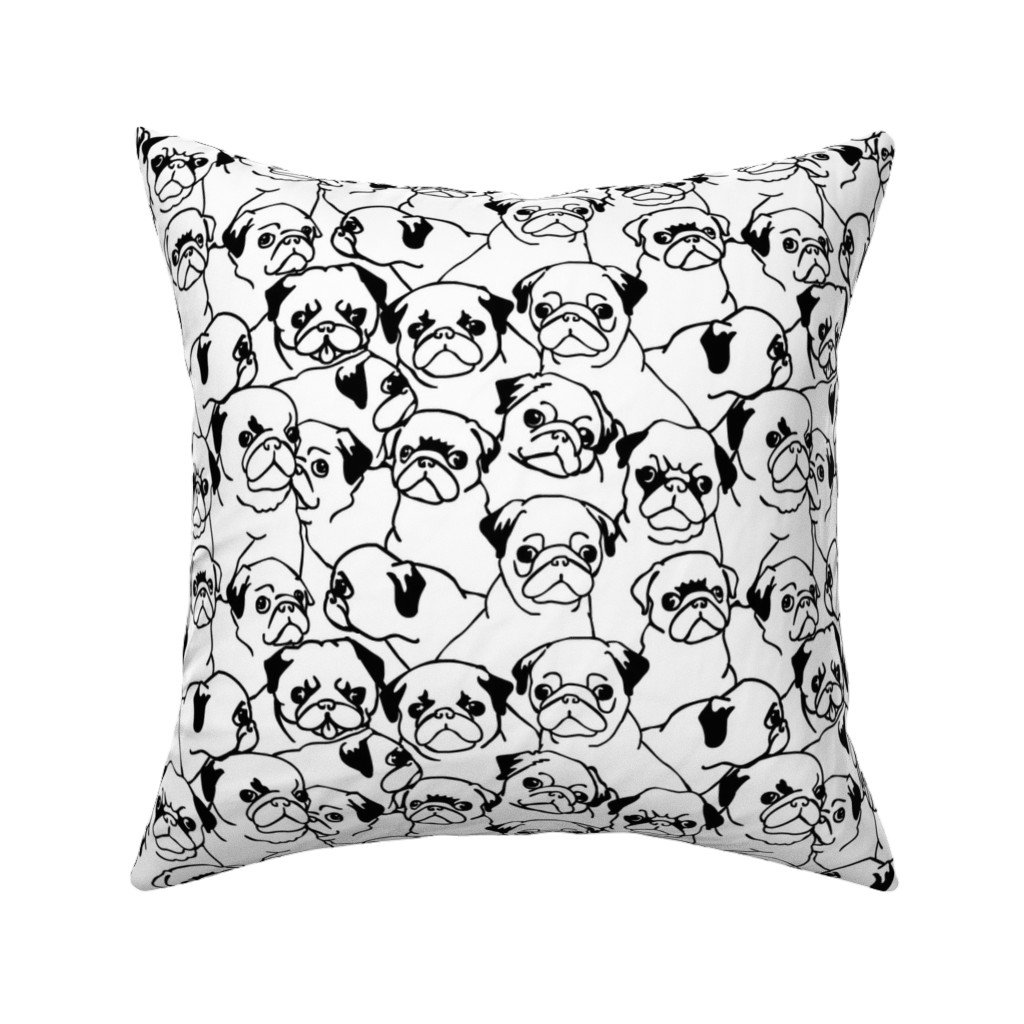 Catalan Throw Pillow featuring Oh Pugs by huebucket