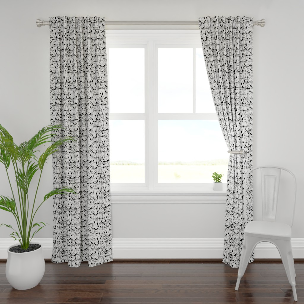 Plymouth Curtain Panel featuring Oh Pugs by huebucket