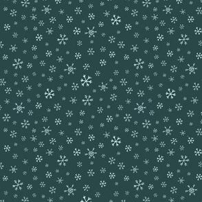 Snowflake Scatter on Dark Teal