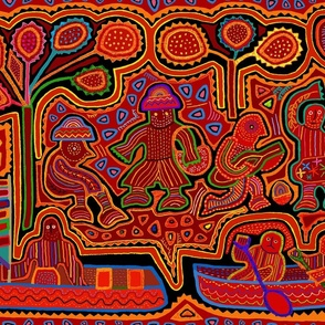 Panama Kuna Indian Folk Art Mola Men in Boats