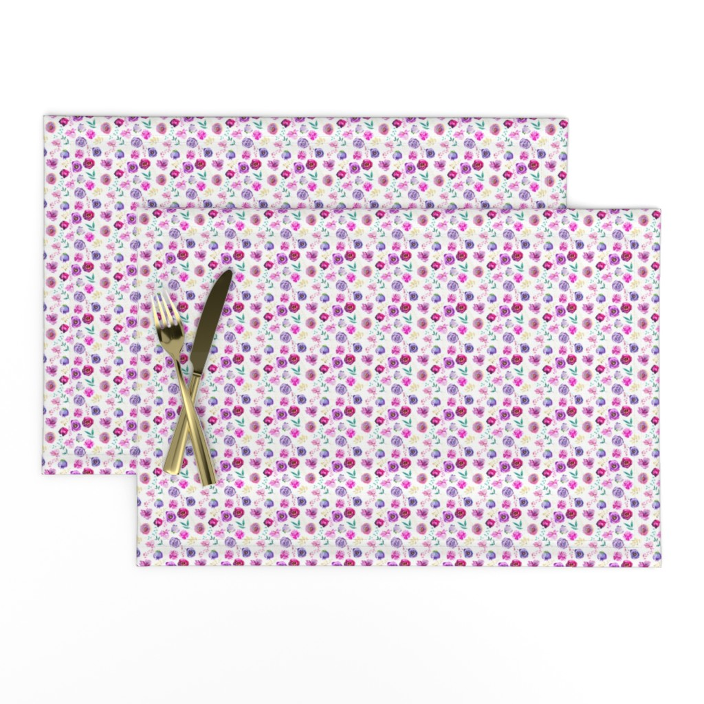 """Lamona Cloth Placemats featuring Purple and Gold Floral Toss 2"""" by greenmountainfabric"""