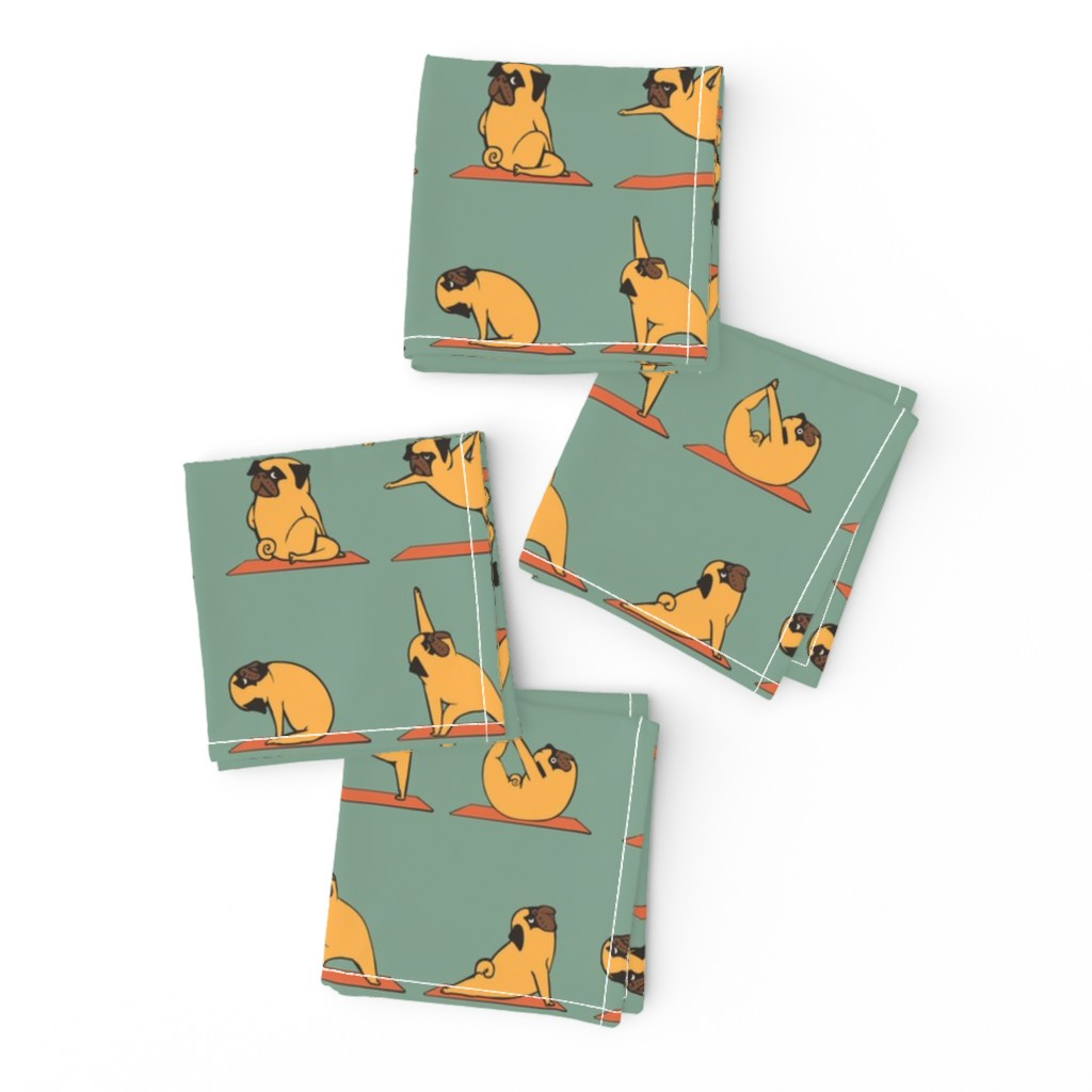 Frizzle Cocktail Napkins featuring Pug Yoga by huebucket