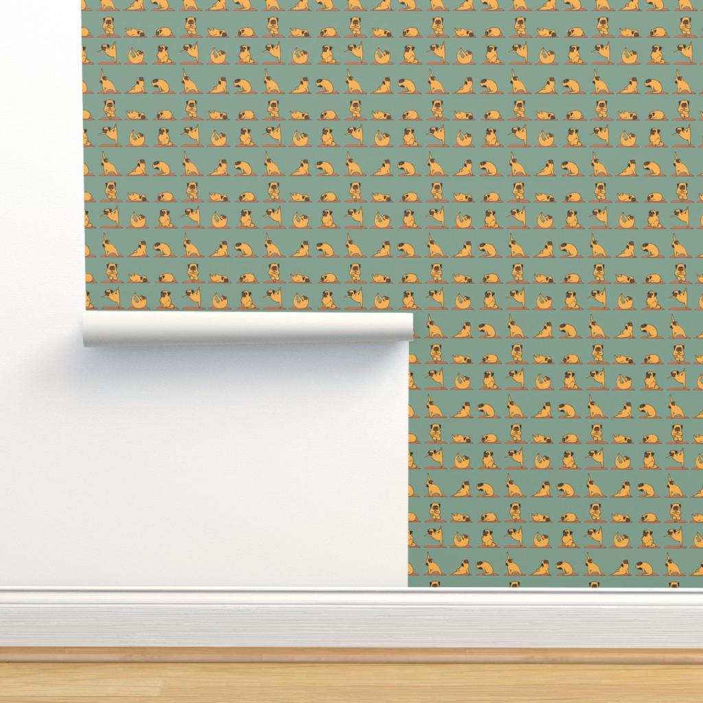 Isobar Durable Wallpaper featuring Pug Yoga by huebucket