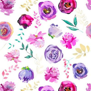 """Purple and Gold Floral Toss 8"""""""