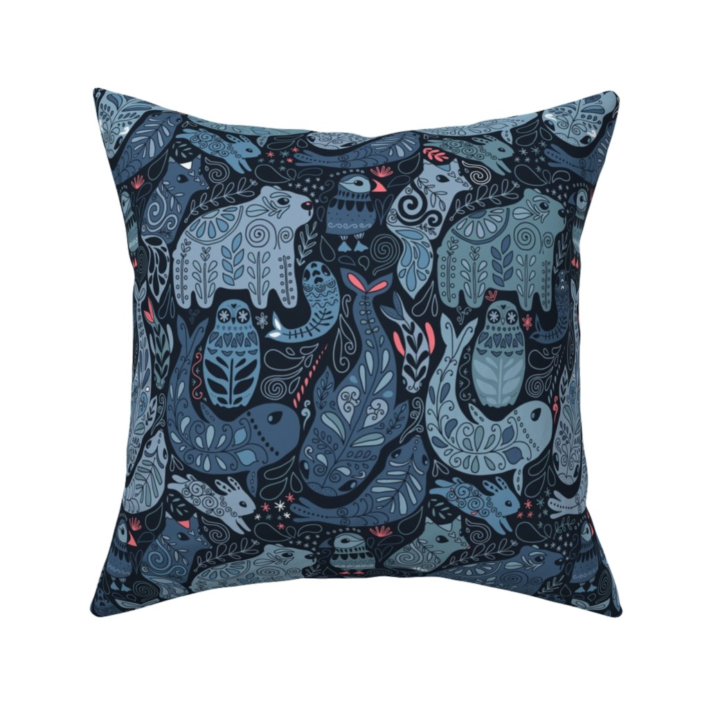 Catalan Throw Pillow featuring Arctic animals. Polar bear, puffin, whales, seal, owls, bunny. by kostolom3000