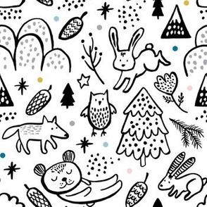 Woodland Animals Black and White by Minikuosi