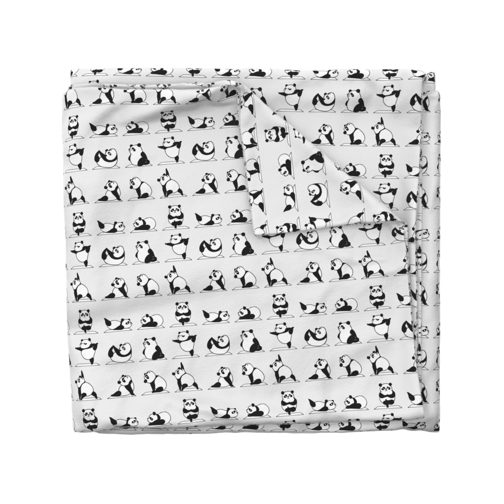 Wyandotte Duvet Cover featuring Panda Yoga by huebucket