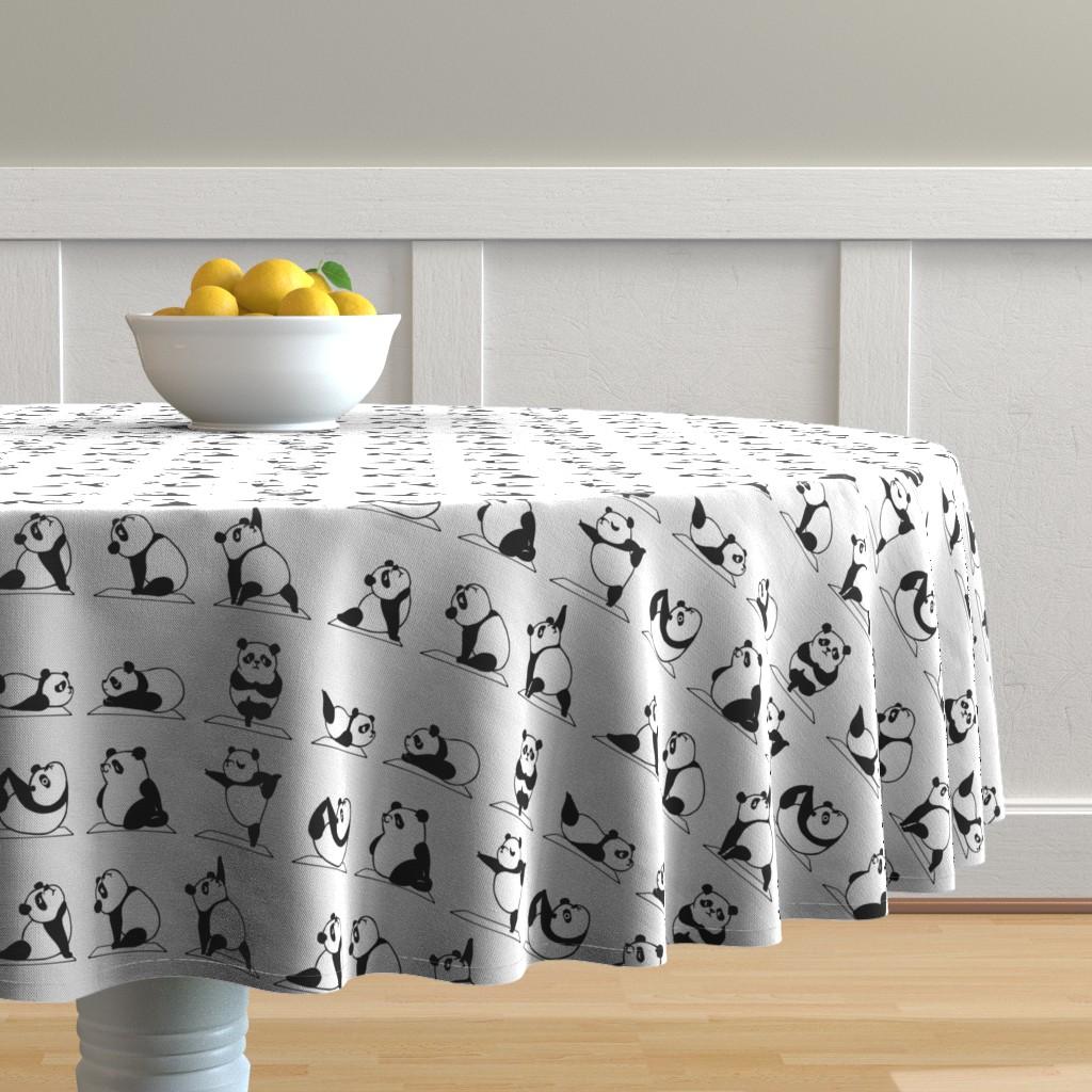 Malay Round Tablecloth featuring Panda Yoga by huebucket