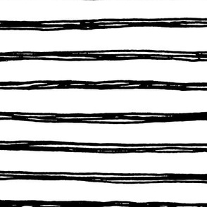 Black Striped Doodles - Hand Drawn Stripes Geometric Inky Monochrome Black and White Baby Nursery Kids Children