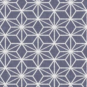Hemp leaf pattern pearls on denim gray by Su_G_©SuSchaefer