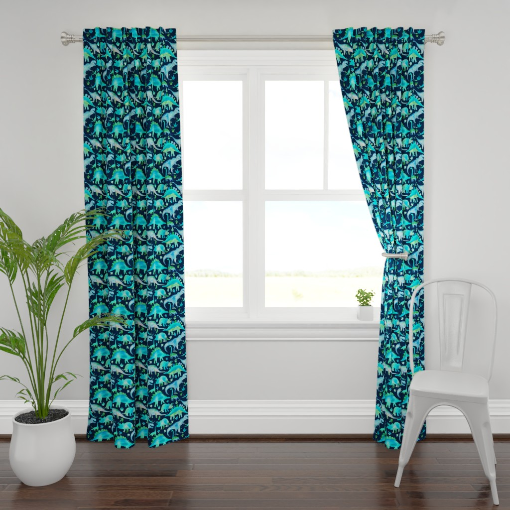 Plymouth Curtain Panel featuring Blue and green dinosaurs - blue background by emeryallardsmith