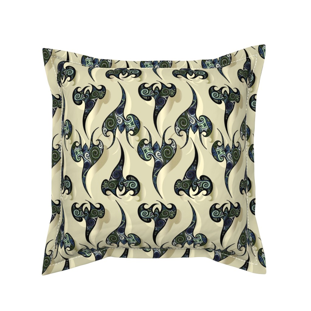 Serama Throw Pillow featuring Oriental Tattoos Pattern on white sand by pearlposition