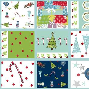 holiday cheer -Christmas quilt 21-border light blue