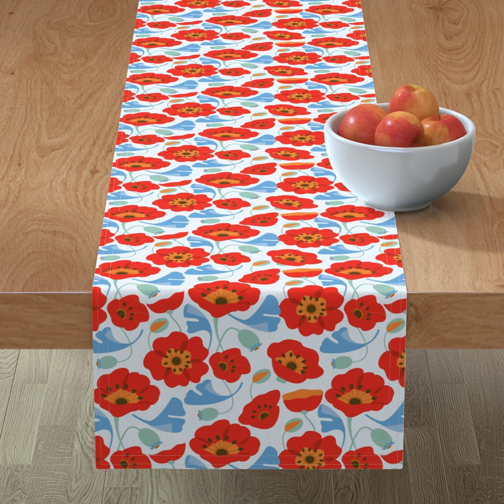 Minorca Table Runner featuring Red Poppy Ginkgo, Large by cindylindgren