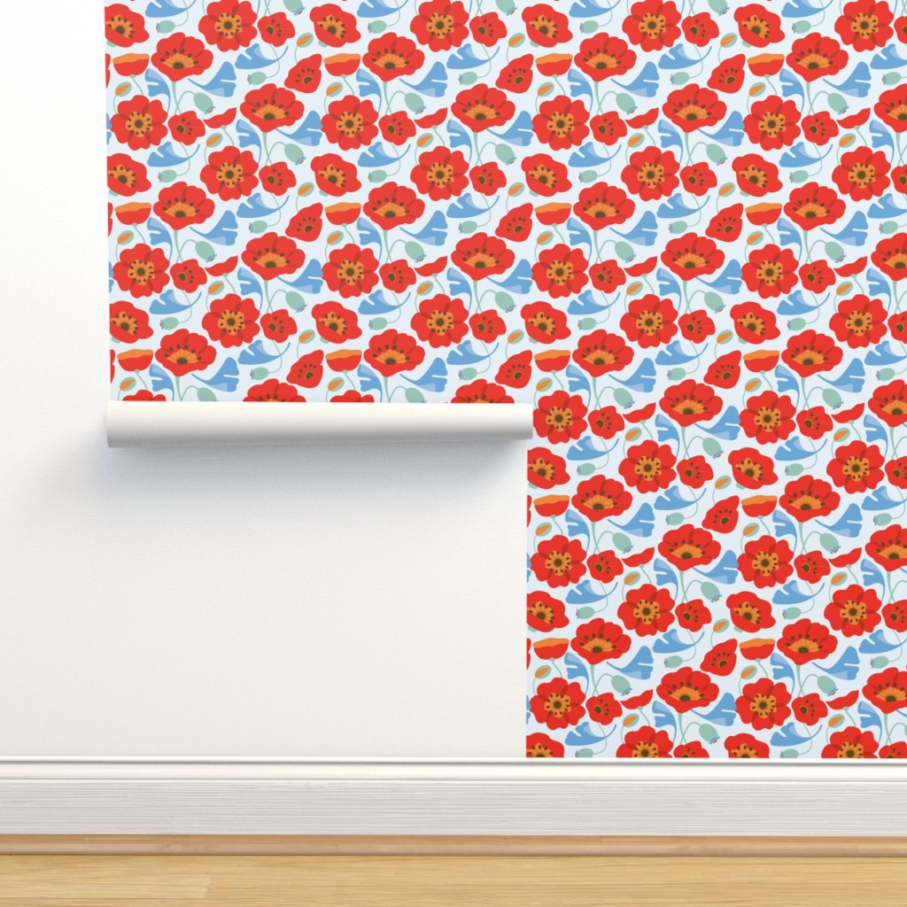 Isobar Durable Wallpaper featuring Red Poppy Ginkgo, Large by cindylindgren