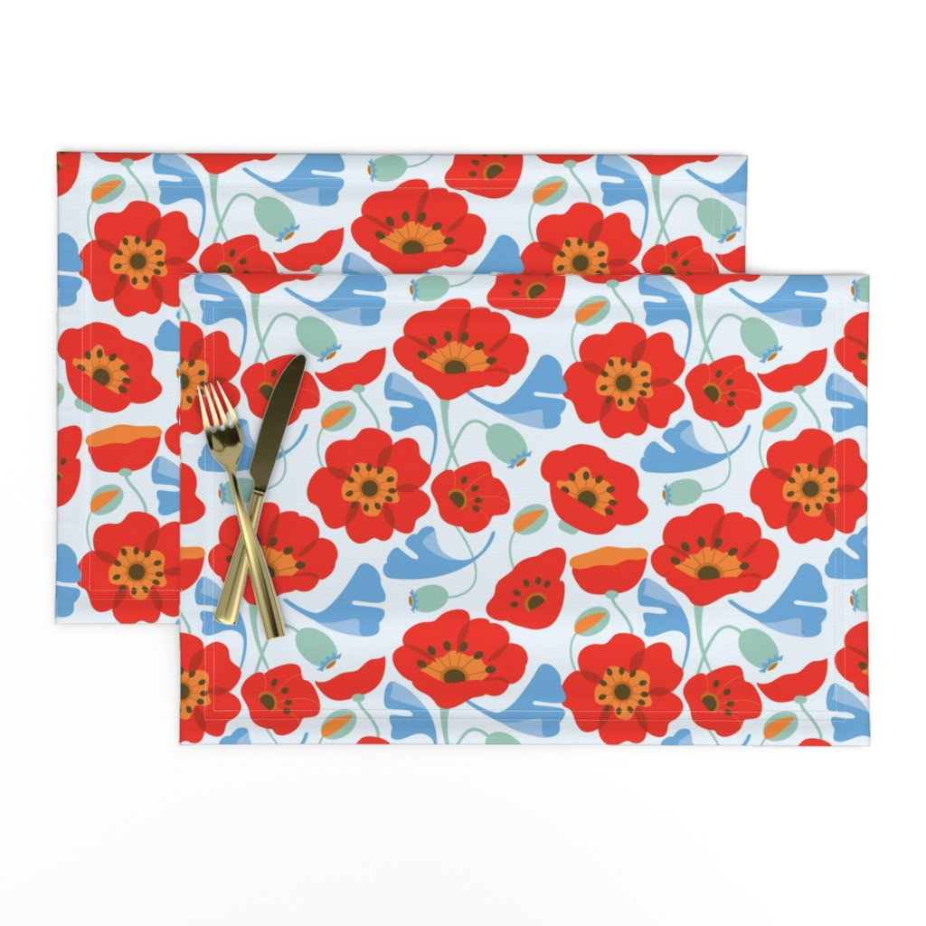 Lamona Cloth Placemats featuring Red Poppy Ginkgo, Large by cindylindgren
