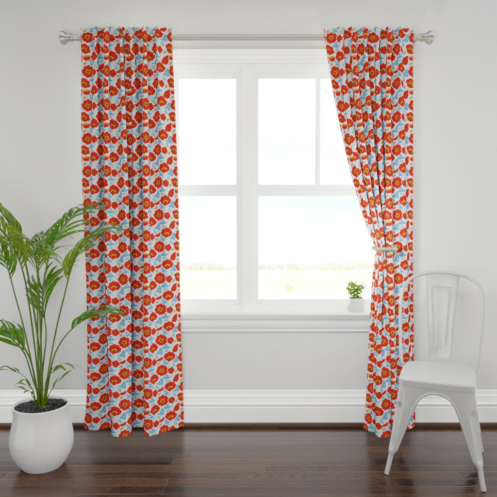 Plymouth Curtain Panel featuring Red Poppy Ginkgo, Large by cindylindgren