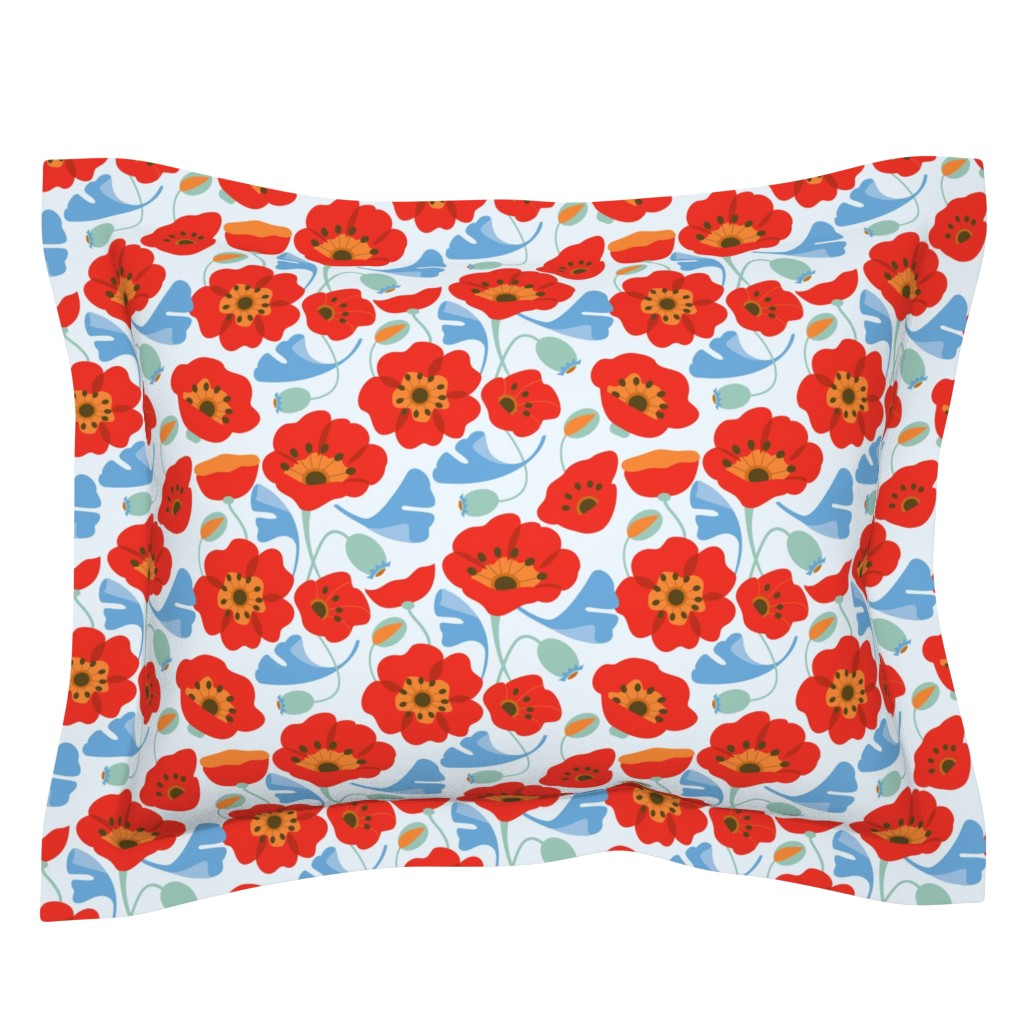 Sebright Pillow Sham featuring Red Poppy Ginkgo, Large by cindylindgren